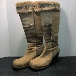 Lower East Side Knee High Boots Tan and Brown- 8.5